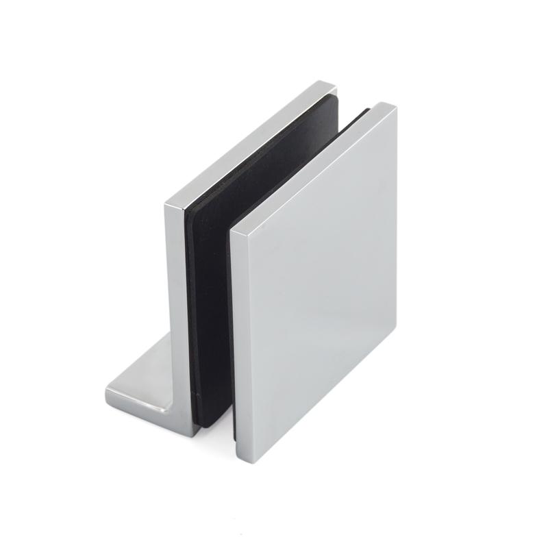 Short Plate Solid Brass Shower Door Glass Clips GC-7-90BL